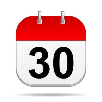 30 on blank calendar icon