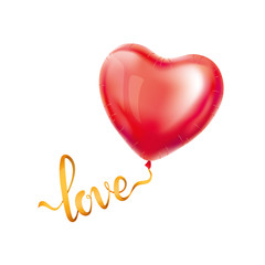 Love gold letter heart balloon