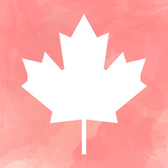 Contour of Canada flag white leaf