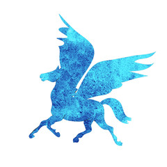 Pegasus  watercolor silhouettes icon