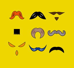 Set hipster moustaches