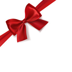 Realistic red satin vector gift ribbon with bow.
