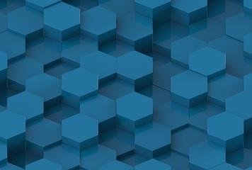 Blue Hexagon Background Texture. 3d render
