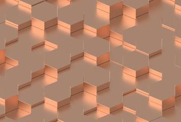 Copper Hexagon Background Texture. 3d render
