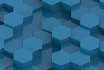 Blue Hexagon Background Texture. 3d render
