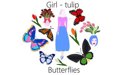 Girl-Tulip Butterflies Vector Clip Art