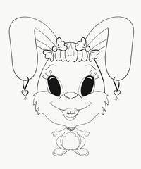 Children's Coloring funny bunny girl