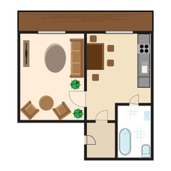 Modern graphic apartment top view - living room, kitchen, hall and bathroom. Flat style vector illustration.