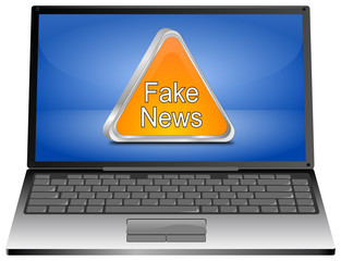 Laptop Computer with Fake News warning sign - 3D illustration