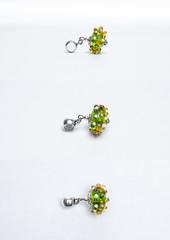 Glass handmade light green beads