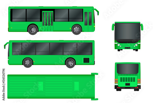 green city bus template passenger transport all sides view from top