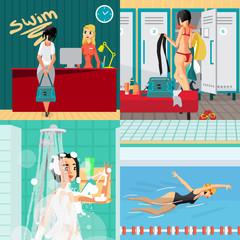 Swimming pool interior concept banners. Reception, locker room,