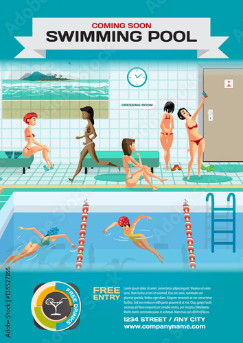 Template For A Poster On The Gym Public Swimming Pool Inside Wi Stock Afbeeldingen En