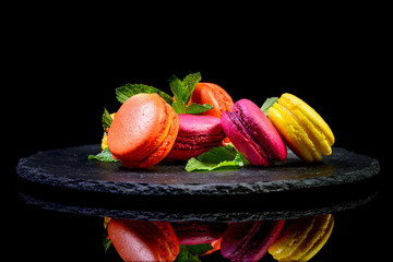 dessert on isolated black with reflection