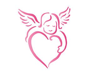 Romantic Pink Cupid Valentine Silhouette Symbol