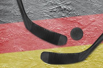 German flag and two hockey sticks hockey