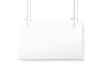 Blank hanging sign on white background. vector