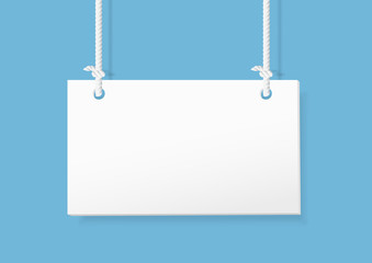 Blank hanging sign on blue background. vector