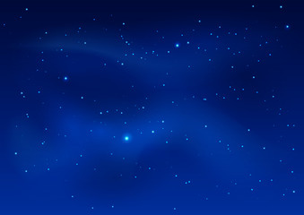 Blue dark night sky and stars