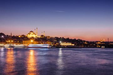 Night view of skyline of Borphorus and Galata bridge, Istanbul, Turkey.