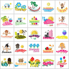 Summer Icons Set Isolated On White Background-Vector Illustration,Graphic Design.Party Girls,Color Symbols.For Web Site,Apps,Print,Presentation Templates,Mobile Applications And Promotional Materials