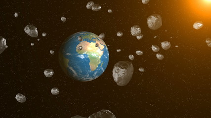 Asteroids in space fly to earth. Space background. 3D rendering