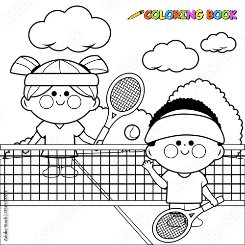 Children playing tennis. Black and white coloring book page \