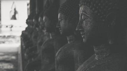 Buddha statue Of Thailand, black and white tone