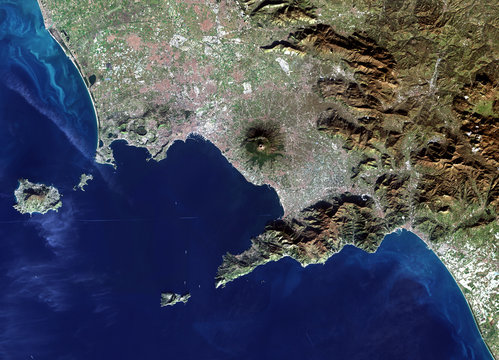 Italy from Landsat satellite. Elements of this image furnished by NASA