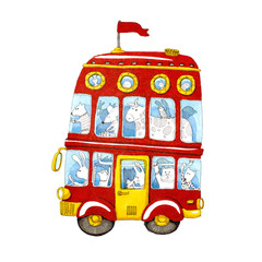 Watercolor red double-decker animal kids bus.