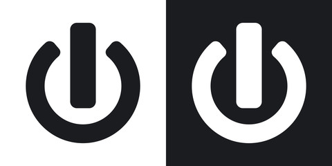 Vector power icon. Two-tone version on black and white background
