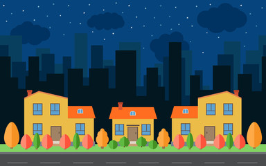 Vector night city with cartoon houses and buildings with red, yellow and green trees and shrubs. City space with road on flat style background concept. Summer urban landscape.