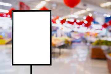 Blank price board with Supermarket store