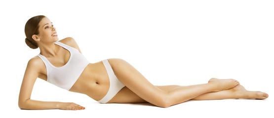Woman Slim Body Beauty, Beautiful Model in Underwear Lying over White Background