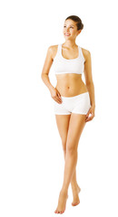 Woman Body Beauty, Slim Model Walking In White Underwear, Young Girl Isolated White