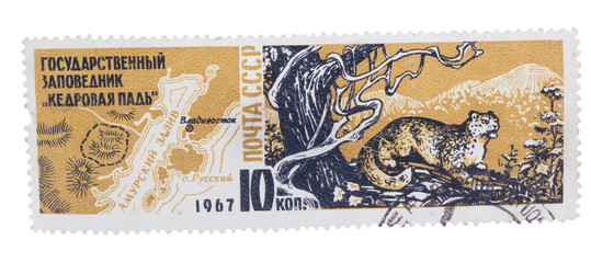 USSR - CIRCA 1967: A stamp printed in , shows map of Cedar P