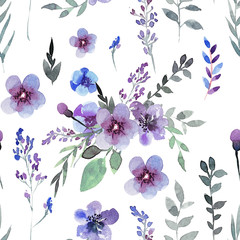 Hand drawing seamless pattern of flowers in blue and purple colo