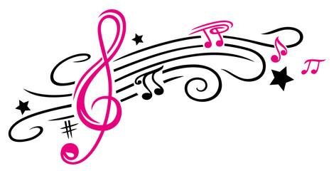 Notenschlüssel mit Notenblatt, Sternen und Musiknoten. Tribal und Tattoo Style.