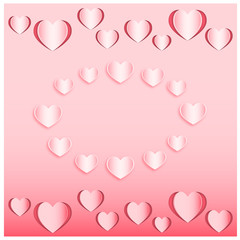 Set of the hearts cut out from pink paper. Vector illustration EPS10. Paper cutout art style for Valentine's day or wedding design