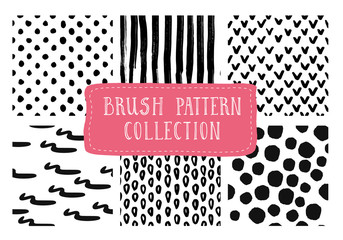 Collection of hand drawn marker and ink patterns. Black and white simple vector grunge textures with dots, strokes and doodles. Vector illustration.