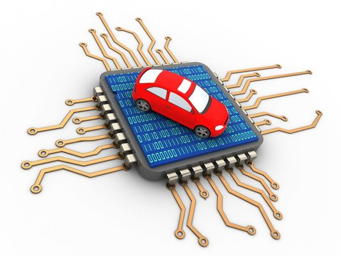 3d illustration of processor over white background with car and binary code inside