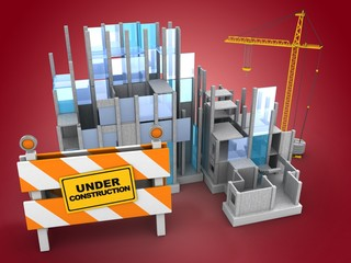3d illustration of building construction over red background with crane
