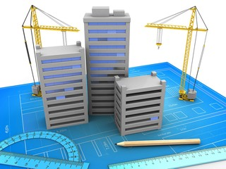 3d illustration of city over blueprint background with cranes