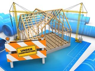 3d illustration of wooden house frame over blueprints background with cranes