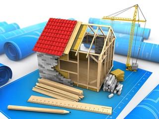 3d illustration of frame house structure over blueprints background with crane