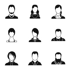 Avatar people icons set, simple style