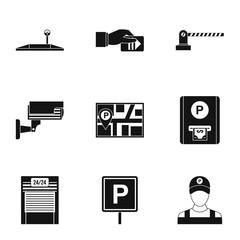 Parking station icons set, simple style