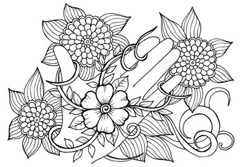 Black and white flower pattern on a hand .