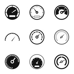 Speedometer for transport icons set, simple style
