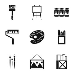 Creativity art icons set, simple style